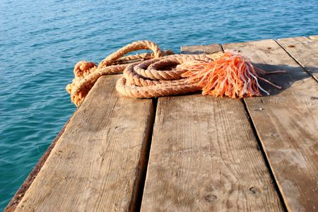 rope for navigation in the sea Stock Photo
