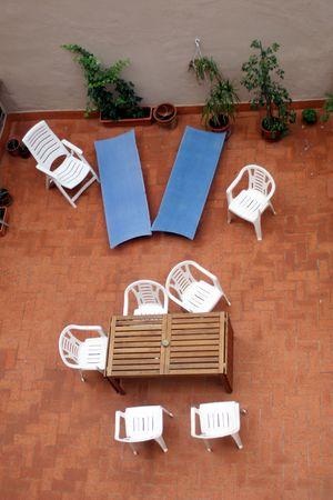 sun bathing: terrace top view. Summer sun bathing Stock Photo
