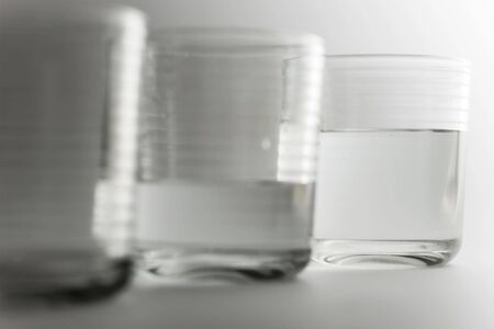 not full: see the full glass of life and not the empty glass Stock Photo