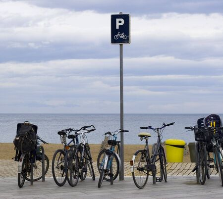 bicycle parking in front of the beach. Enjoy the beach Stock Photo - 837351