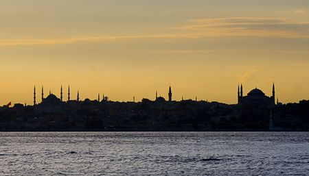 pilgrim journey: Istambul skyline from asian side. Mosques silhouettes over the sea