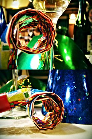 detail of party items with a strange perspective. Intense colors. Two differrent scenes Stock Photo