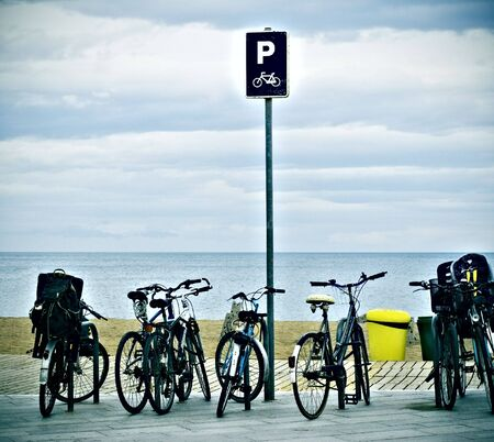 bicycle parking in front of the beach. Enjoy the beach Stock Photo
