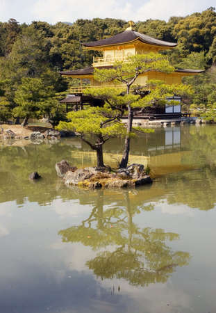 A view across a pond to the Kinkakuji temple (The Golden Pavillion) in Kyoto, Japan. Editorial