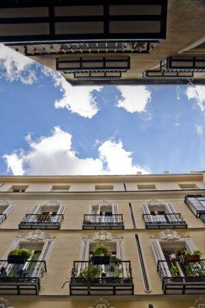 Buildings and sky  in Madrid. Chueca neighbourhood