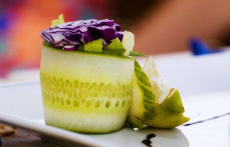 cucumber rolling detail. Salad food