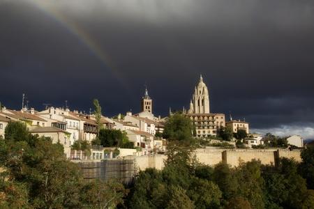 Segovia under a rainbow. Spain