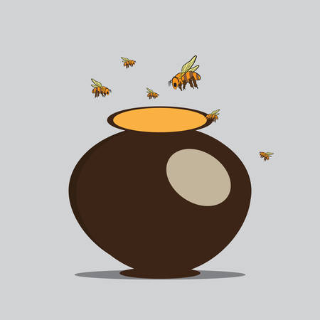 Vector Image Bees and pitcher with honey Illustration