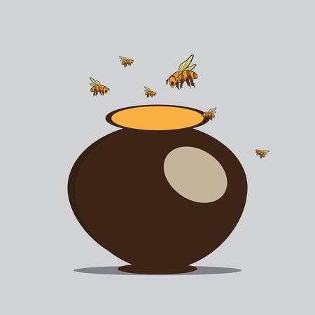 Vector Image Bees and pitcher with honey Illusztráció