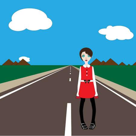 sad teenage girl: vector sad girl standing on the road
