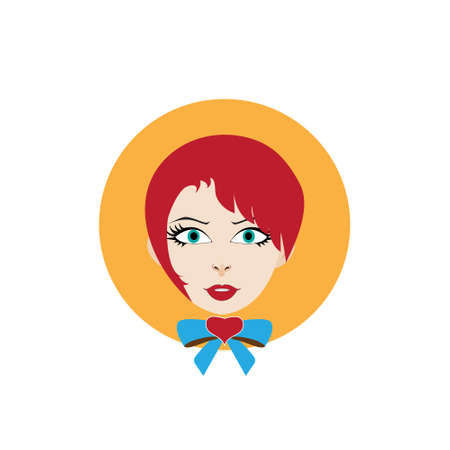 bowknot: vector illustration girl with red hair and a bowknot