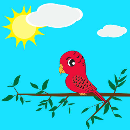 vector of parrot sitting on branch Illustration