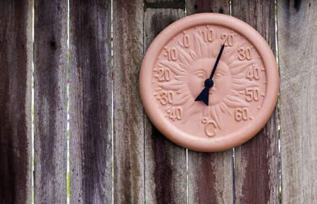 A temperature gauge in Centigrade hangs on a textured wooden wall with room for your text