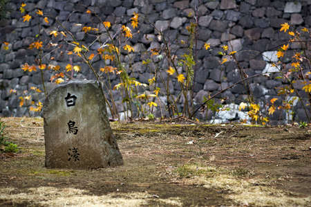 A marker stone with Japanese kanji lettering written on it, in front of a stone wall