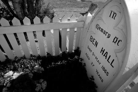 grave site: Forbes, New South Wales, Australia - March 14, 2011: The grave site of Australian bushranger Ben Hall in Forbes Cemetery, NSW Editorial