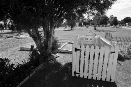 Forbes, New South Wales, Australia - March 14, 2011: The grave site of Australian bushranger Ben Hall in Forbes Cemetery, NSW Editorial