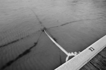 Anchor ropes lead into the calm water at an empty marina, in black and white.