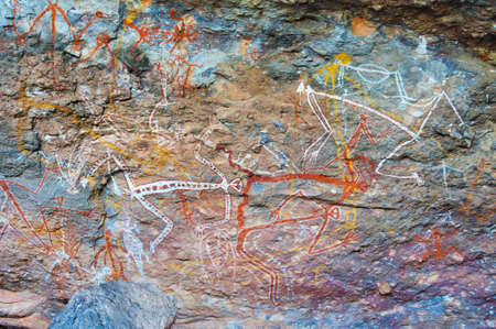 Aboriginal rock paintings in Kakadu National Park, Australia. Stock Photo