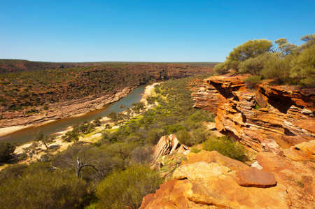 A view of the river that runs through the wilderness of Kalbarri National Park in Western Australia.