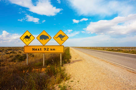 A wildlife warning road sign in the Nullarbor Plain, Australia Stock Photo