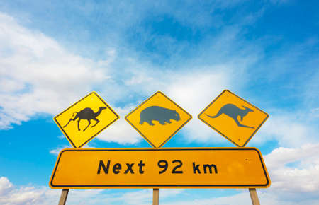 A wildlife warning road sign in the Nullarbor Plain, Australia Stock Photo