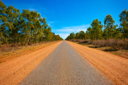 A long, narrow paved road in the Australian outback leads far into the distance.