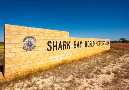 shark bay: The sign at the entrance to the Shark Bay World Heritage Area in Western Australia. This area includes Monkey Mia.
