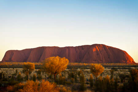 Iconic Uluru at sunrise on a clear winters morning in the Northern Territory, Australia