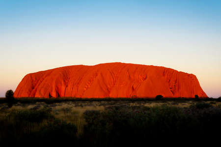 Iconic Uluru at sunset on a clear winters evening in the Northern Territory, Australia Editorial