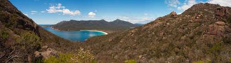 Panorama of Tasmanias most iconic beach, Wineglass Bay, in Freycinet National Park.