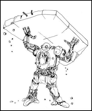 A very strong robot lifting debris