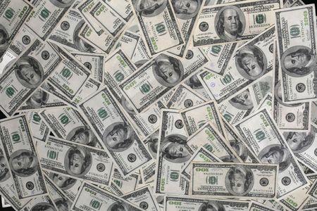 A Collage of Hundred Dollar Bills 版權商用圖片