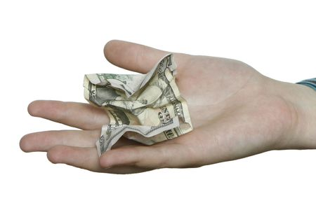 fifty dollar bill: A hand on a pure white background holding a cumpled fifty dollar bill. Stock Photo