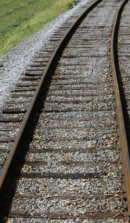 ourdoor: An old set of railroad tracks going no where.