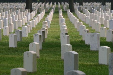 dozens: Dozens of unmarked military tombs Stock Photo