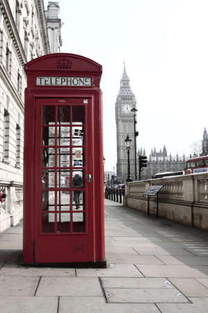 telephone: Classic red telephone booth with Big Ben in the distance - London