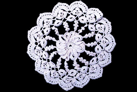 Cream Round Lace Tablecloth Isolated On Black Background Stock Photo    92039762