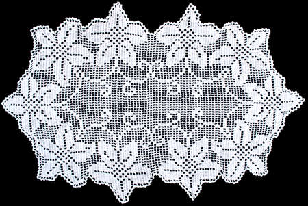 White Rectangle Lace Tablecloth Isolated On Black Background, Close Up Photo