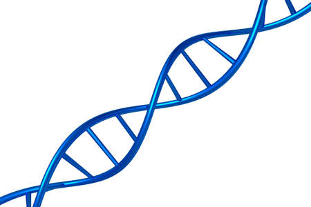DNA chain blue color isolated on a white background, 3D render object Stock Photo