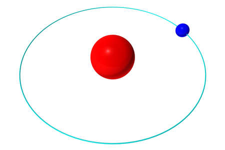 Hydrogen atom isolated on white, red proton and blue electron