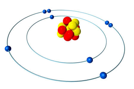 Oxygen atom with proton, neutron and electron, 3D Bohr model