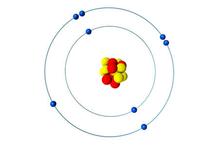Oxygen atom with proton, neutron and electron, 3D Bohr model illustration