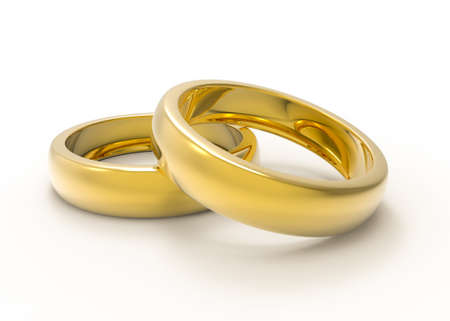 Golden Wedding rings isolated on white background Stock Photo