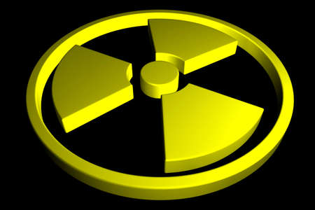 Yellow Radioactive sign isolated on black background. 3D rendering