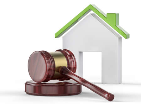 Judge hammer and eco house with green roof in background. Law and ecology concept Stock Photo