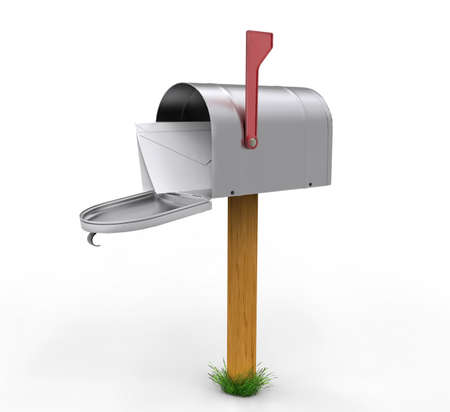 Open mailbox with envelope isolated on white background. 3D illustration