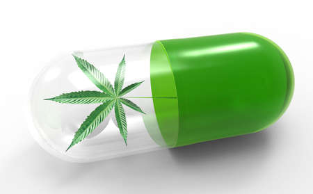 Cannabis leaf in capsule, alternative medical concept. Close up. 3d illustration