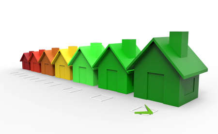 Multi colored houses energy efficiency directive concept. 3d illustration