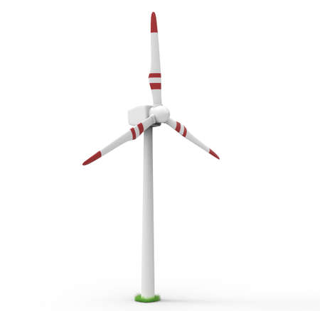 Wind turbine isolated on white background. Renewable energy concept. 3D illustration Reklamní fotografie - 95142490