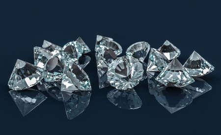 Muchos diamantes en el escritorio reflectante. Enfoque selectivo. Ilustración 3D